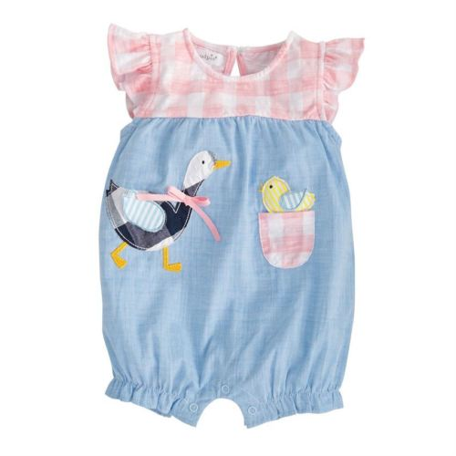 Newborn Baby Girl 3D Floral Plaid Denim Bubble   Rompers   Jumpsuit Sunsuit Toddler Girls Kids Princess Summer   Rompers   Clothes Tops