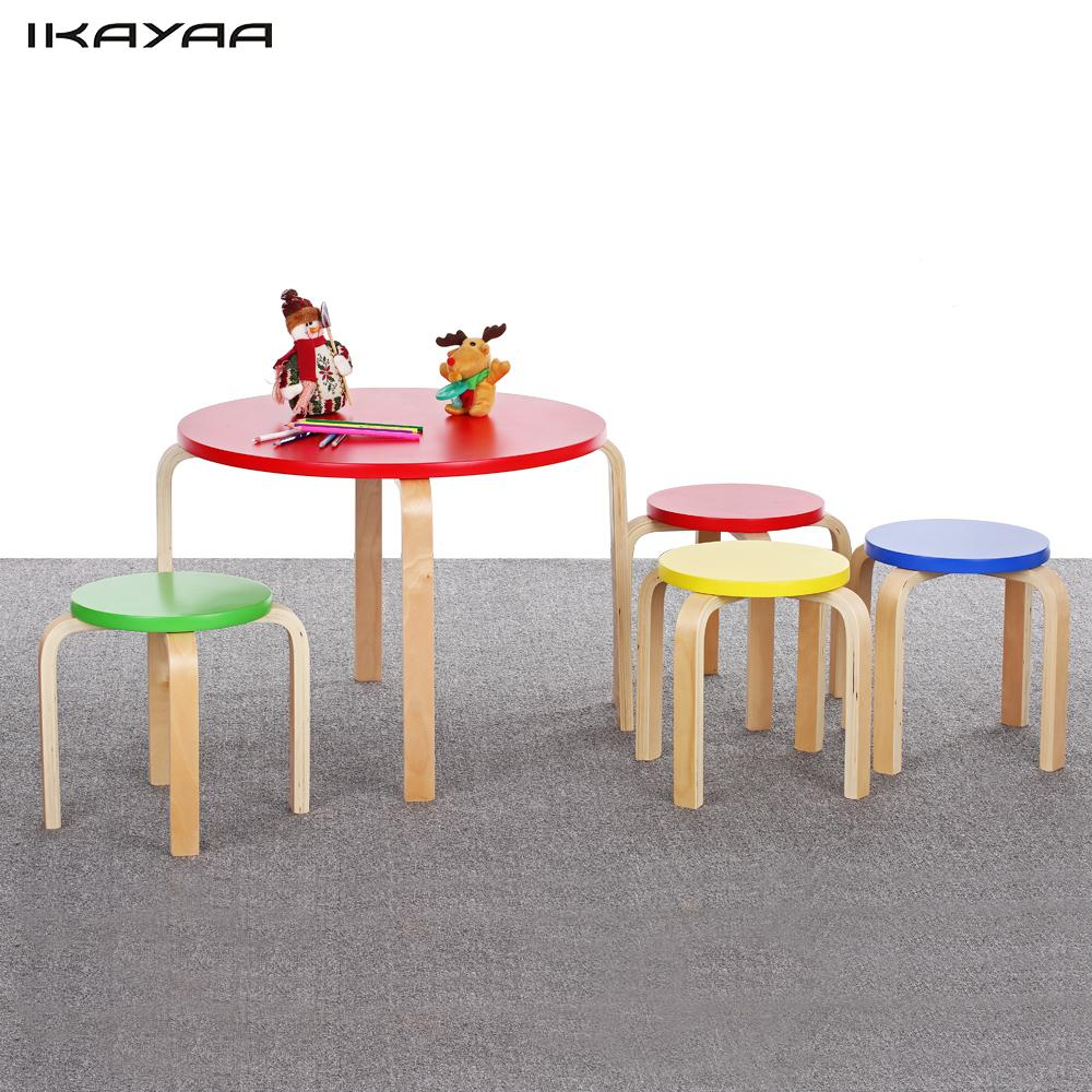 ikayaa fr us de stock solid wood round kids table and 4 chairs set furniture 50kg capacity. Black Bedroom Furniture Sets. Home Design Ideas