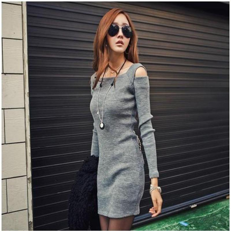 2018 Gray Black Winter Sexy Strapless Women Sweater Dress Women Clothes Ladies Long Sleeve Knitted Bodycon Stretch Dress