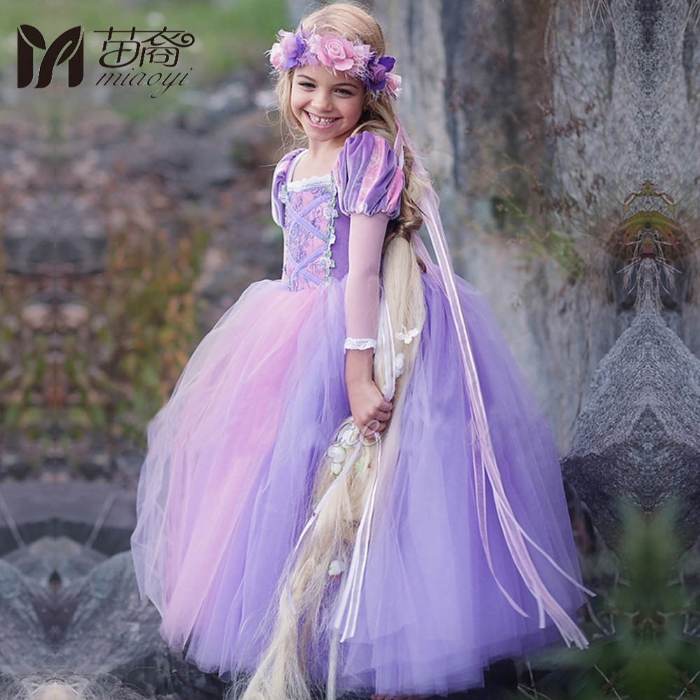 Miaoyi 2018 New Kids Girls Princess  Rapunzel Dresses Full Ball Gown Long Party Dress Children Clothing Kids Cosplay Costume 2017 rapunzel cosplay dress children girls long hair princess dress halloween costume clothes kids clothing with sleeves garland