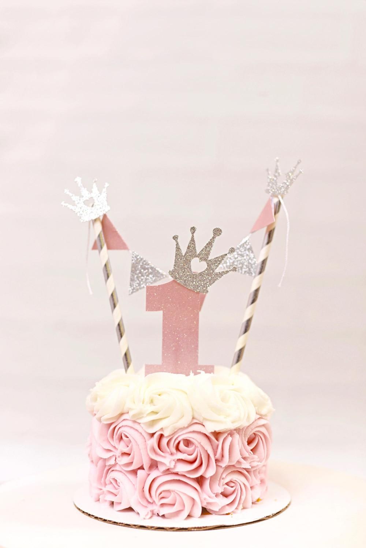 1st birthday cake topper Girls Cake topper Princess Cake topper