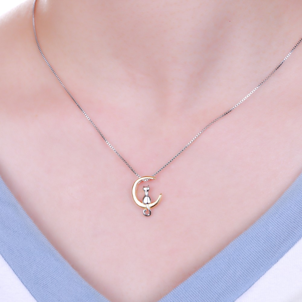 cat on moon necklace