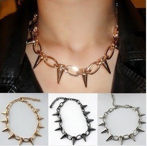Free Shipping 12pcs/lot New Arrivals! Hot ! Gun black Golden Silver Fashion Punk Style Rivet Chain Necklace NO 20315