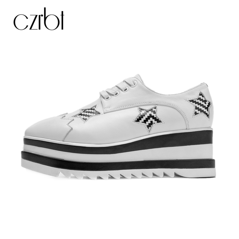 CZRBT Genuine Leather Platform Shoes Women Spring Autumn Casual Cow Leather Flats Lace Up Square Toe Pointed Star Flat Shoes qmn women genuine leather platform flats women lace cut glossy leather square toe brogue shoes woman lace up leisure shoes 34 39