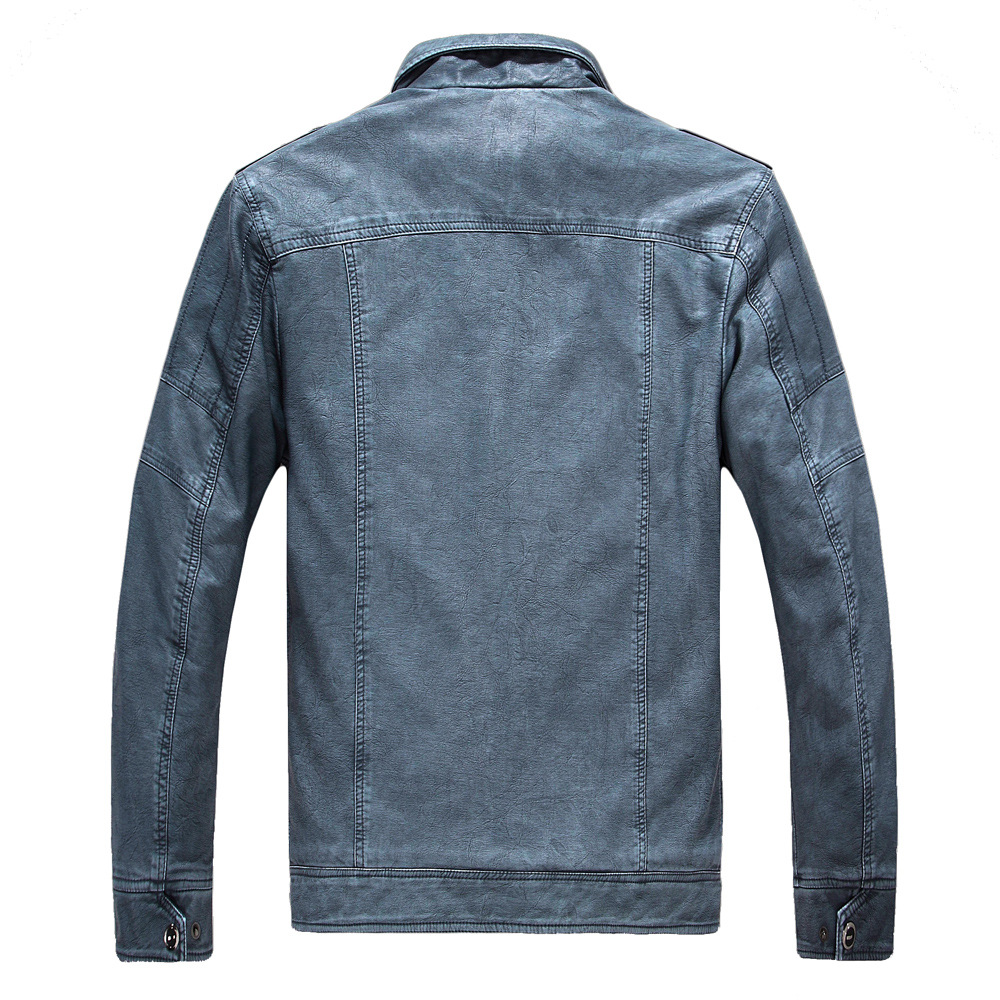 Cuir synthétique polyuréthane pour hommes automne et hiver hommes veste en cuir Plus velours lavé rétro en cuir
