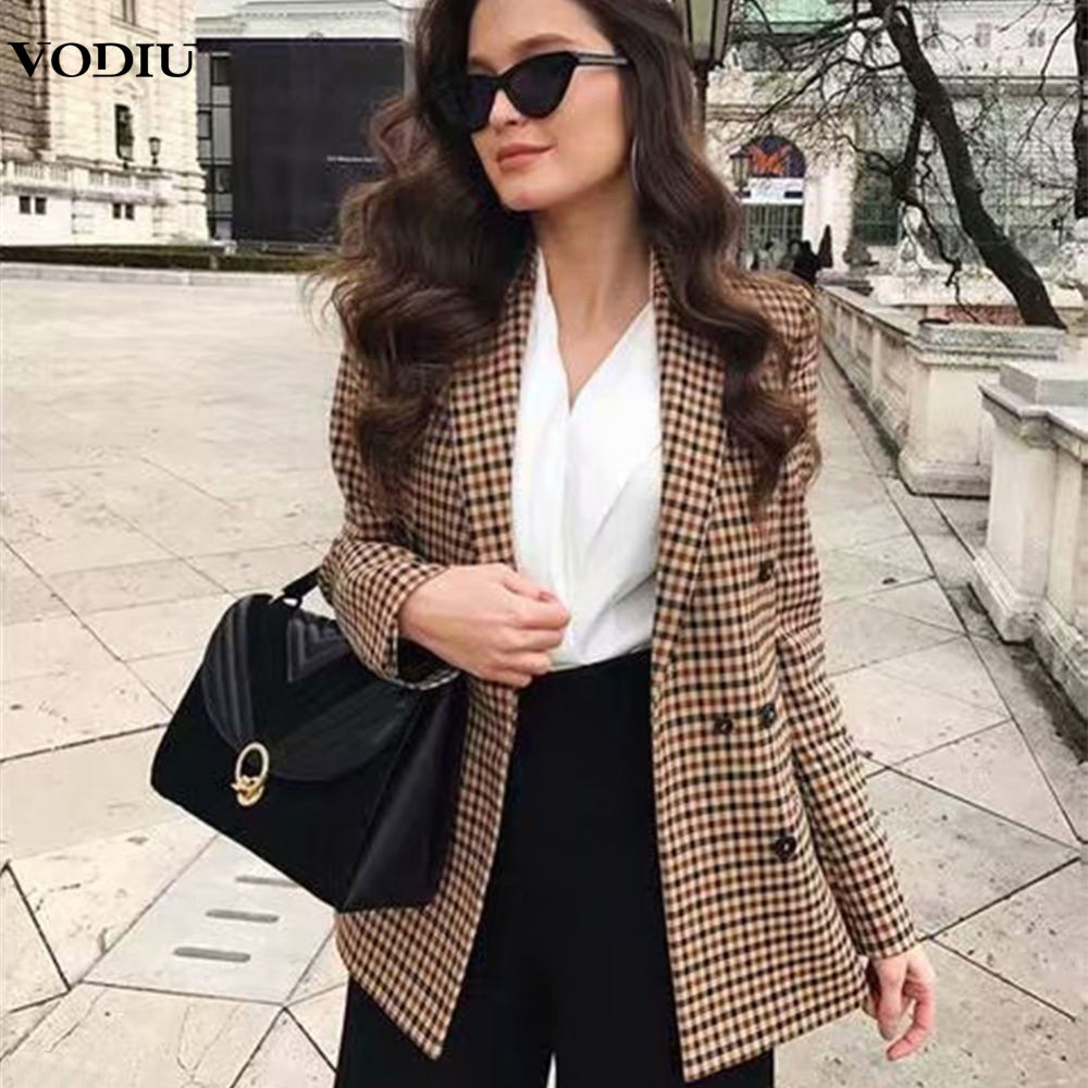 2019 Women's Plaid Blazer Autumn Winter Suit Coat Loose Overcoat For Women Casual Office Ladies Clothing Double Breasted Blazer