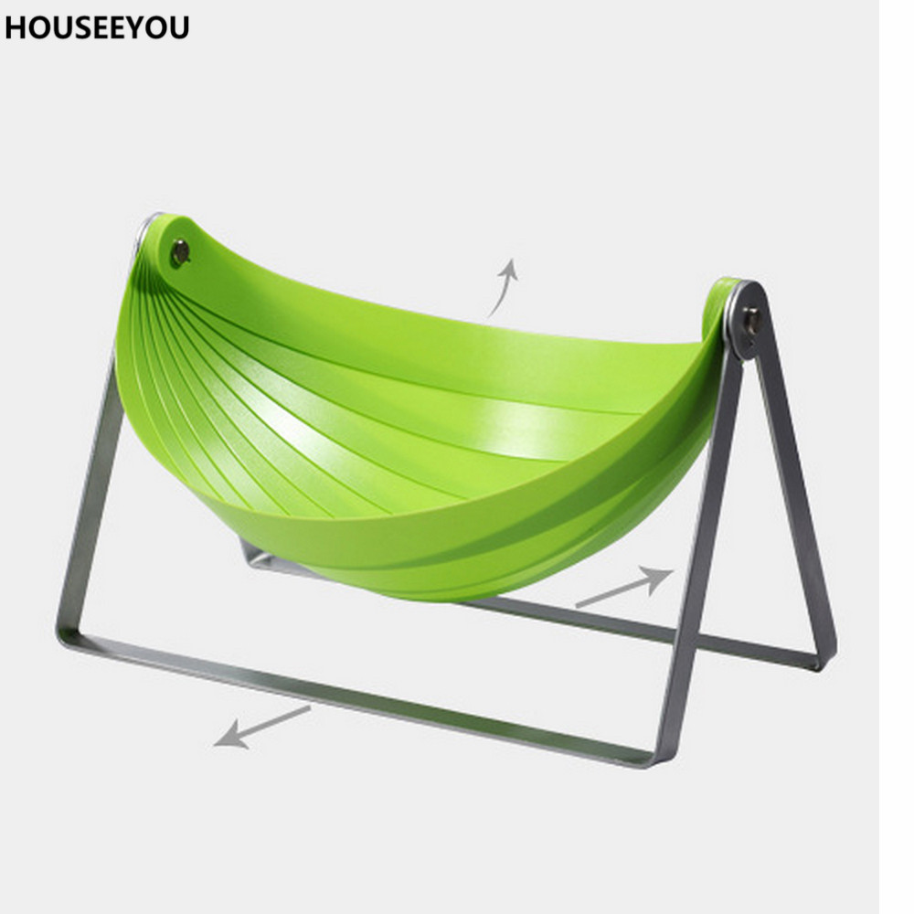 Green Folding Fruit Serving Rack Tray Kitchen Storage Holder Basket Clutter Organizer with Metel Stand Home Storage Supplies