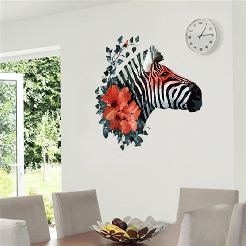 Self Adhesive Wall Sticker Decorative DIY Decal Black Zebra Red Flower 3D  Art Wall Stickers Bedroom Dining Living Room Wallpaper In Wall Stickers  From Home ... Part 29
