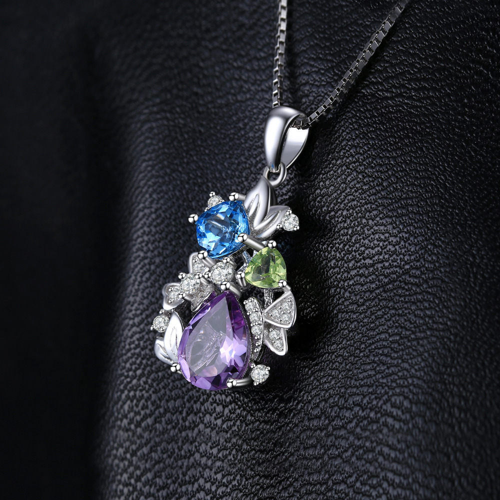 Image 3 - Flower Natural Amethyst Peridot Topaz Pendant Necklace 925  Sterling Silver Gemstones Statement Necklace Women Without  ChainNecklaces