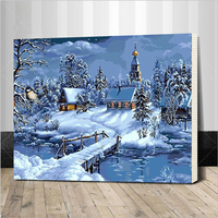 Christmas Snow Landscape DIY Painting By Numbers Handpainted Canvas Painting Unique For Christmas Decoration Artwork Framed