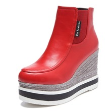 Red Women's Wedges Boots Popular Shoes Soft Leather Heel 8cm Side 2-style Size 35~39 Women's Shoes Casual Boots
