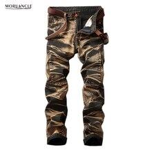 Moruancle модные Для Мужчин's Винтаж Джинсы для женщин Брюки для девочек Ретро прямые джинсовые Мотобрюки для мужчин плюс Размеры 29-42 камень мыть