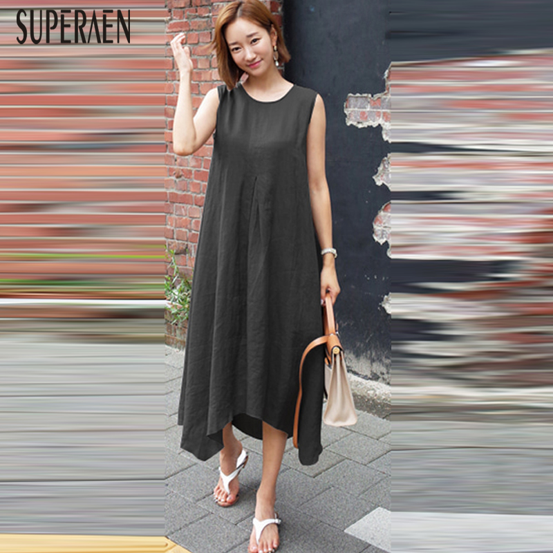 SuperAen 2019 été nouveau femmes robe sans manches en lin couleur unie décontracté dames robe de mode Style coréen femmes vêtements