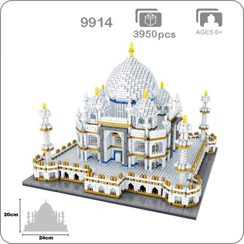 2019 célèbre Architecture inde Taj Mahal Palace modèle 3D diamant Mini bricolage Micro construction Nano blocs briques jouet Collection