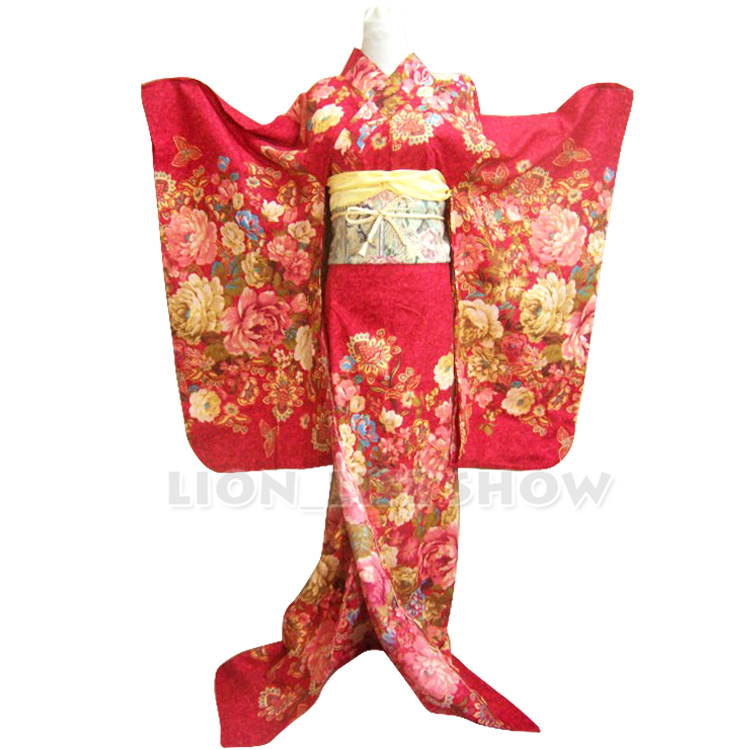 Japanese Red Floral Long Furisode Reversible Traditional Kimono Cosplay Costume Outfit