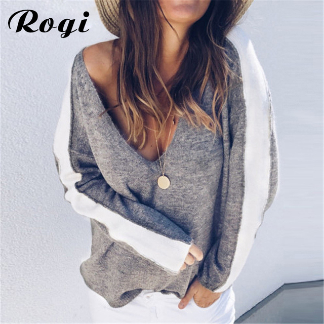 40f96243350 US $9.98 40% OFF|Rogi Striped Sweater Women Autumn Long Sleeve Knitted  Pullover Sweater Tops Sexy Loose Deep V Neck Jumper Sueter Mujer Plus  Size-in ...