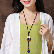 National trend necklace decoration colored glaze pendant female long necklace clothes pendant brief accessories lanyards