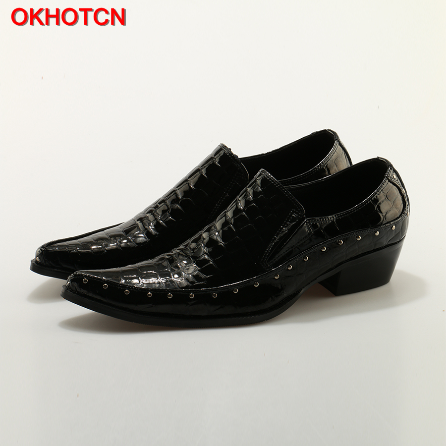 OKHOTCN Genuine Leather Mens Dress Shoes Italian Elegant Party Wedding Shoes Slip On Men Bussiness Flats Shoes High Quality