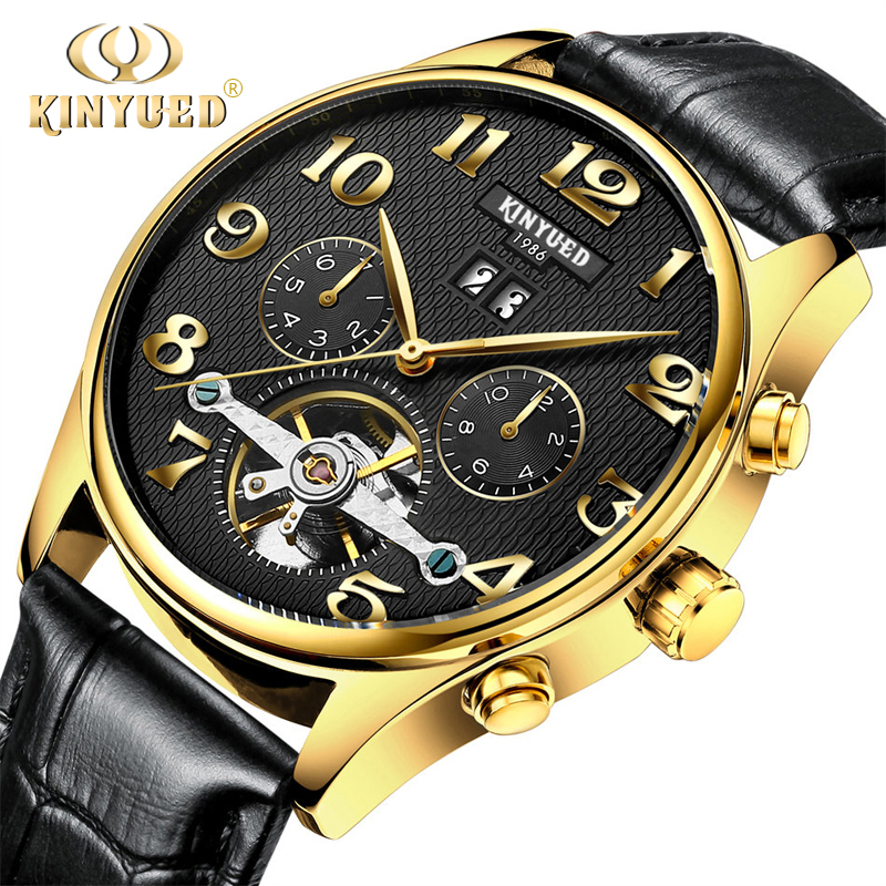 Classic Mens Auto Date Automatic Mechanical Watch Men Black Skeleton Genuine Leather Golden Stainless Steel Self-Wind Wristwatch