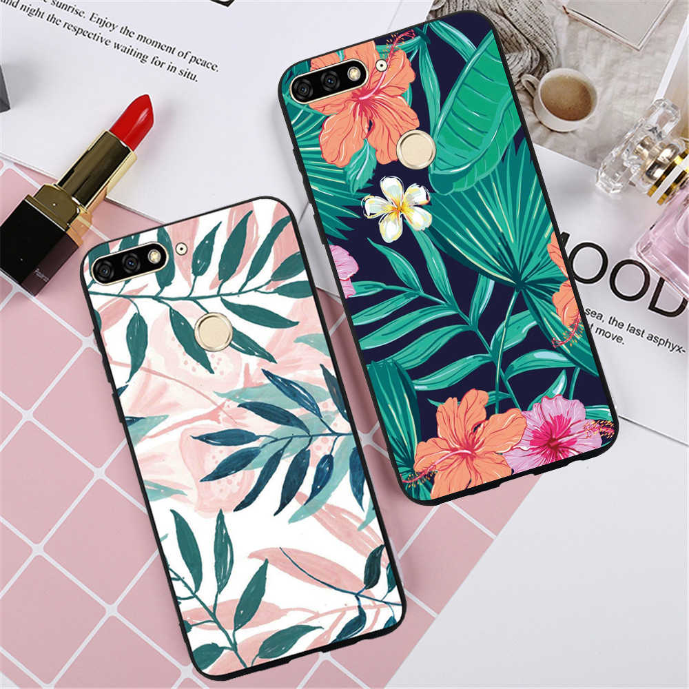 Soft Covers For Huawei Y6 Pro Y3 Y5 Y6 Lite 2017 Y5 Y6 Y7 Prime Y9 2019 2018 Luxury Flowers TPU Silicone Case Shell Fundas
