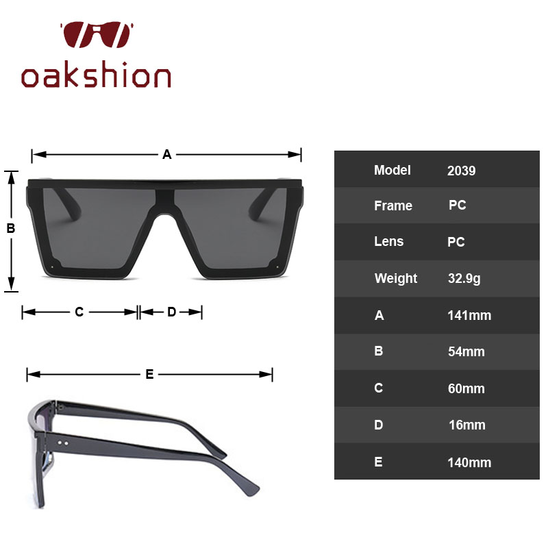 oakshion 2019 Unisex Fashion Ladies Square Big Sunglasses Women Over Sized Shades Flat Top Gradient Mirror Sun Glasses For Male in Men 39 s Sunglasses from Apparel Accessories