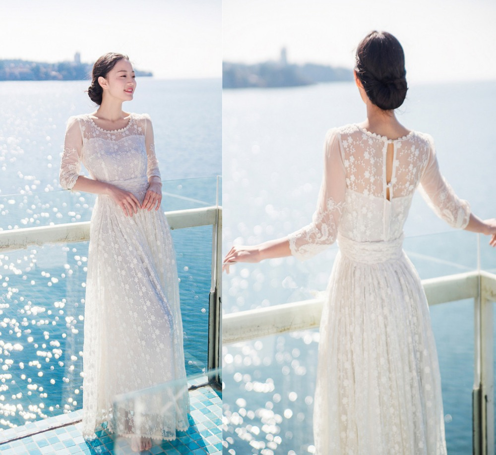 Women whrite wedding party long bohemian dress vacation for Wedding dress travel case