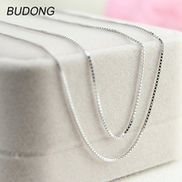 BUDONG 2mm Width Box Chain Necklace for Women 925 Sterling Silver Necklace Jewelry 50cm/55cm/60cm Length