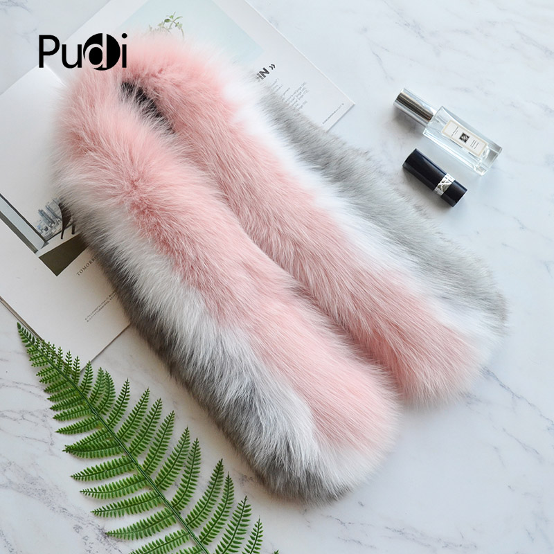 Pudi SF821 genuine fox fur   scarf     wrap   shawl 2018 new patchwork real fox fur pashmina   scarves   shawls   wraps   white grey pink color