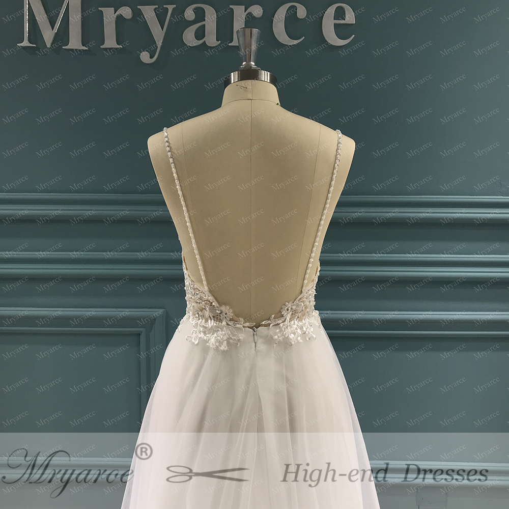 Mryarce Exclusive lace Beading Flowing Tulle A Line  Wedding Dress Open Back Summer Beach Elegant Bridal Gowns  (1)