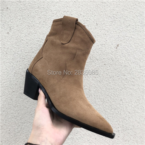 Drop Shipping Western Vintage Brown Suede Autumn Shoes Female Ankle Botas Cowboy Mujer Pointed Toe Cuban Heel Chunky Boots Women