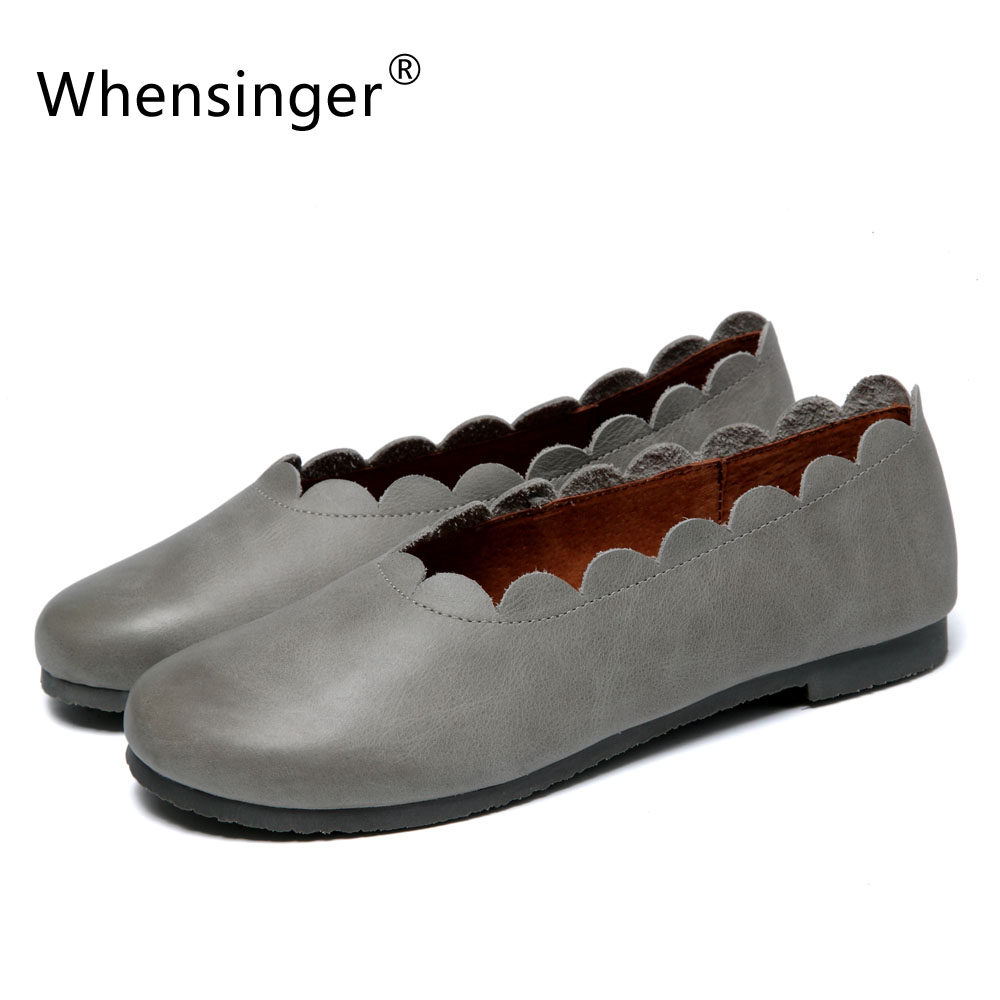 Whensinger - 2017 Best Price Women Shoes Genuine Leather Flats All-match Fashion Design F929 whensinger 2017 new women fashion boots genuine leather fashion shoes rubber sole hands sewing 2 color 7126