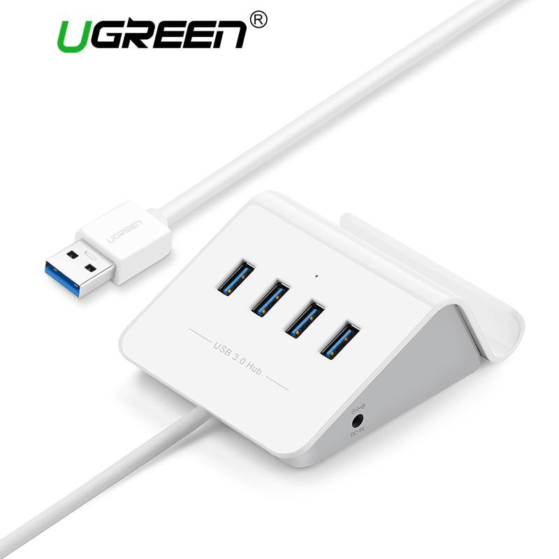 Ugreen USB 3,0 HUB con soporte para teléfono 4 puertos USB HUB USB divisor adaptador de corriente para iMac ordenador portátil accesorios HUB USB 3,0