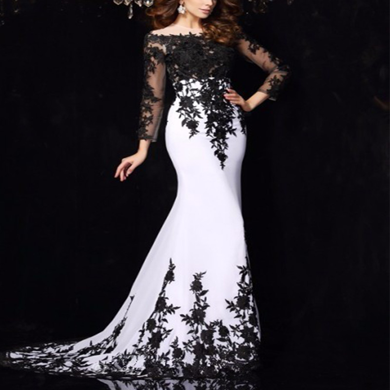 Ryanth Formal White Mermaid Evening Dress For Party Black Long Sleeve Lace Prom Gown 2019 Customize