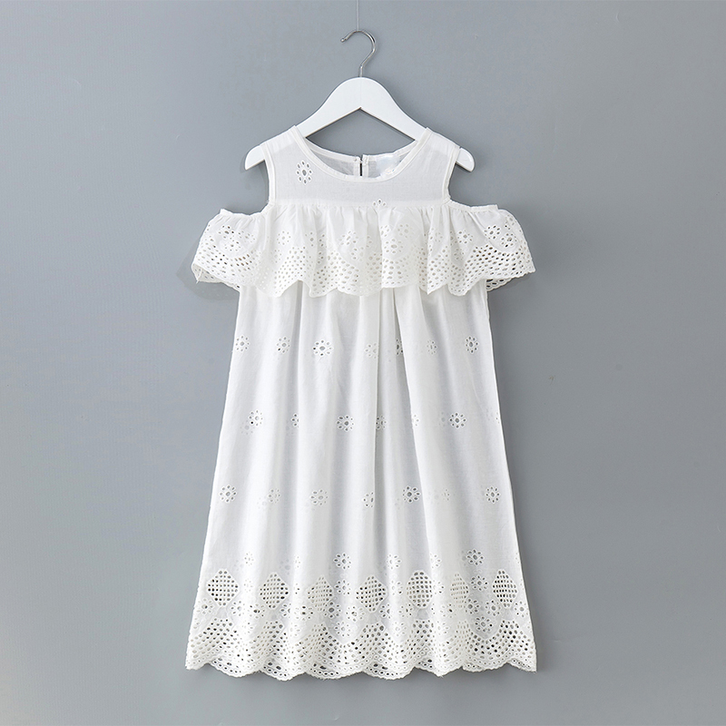 fee27e9590fb6 Cotton Hollow Out Off Shoulder Holiday Teenage Girls Dress Summer 2018  Ruffles Yellow Purple Baby Girls Children Dresses Clothes