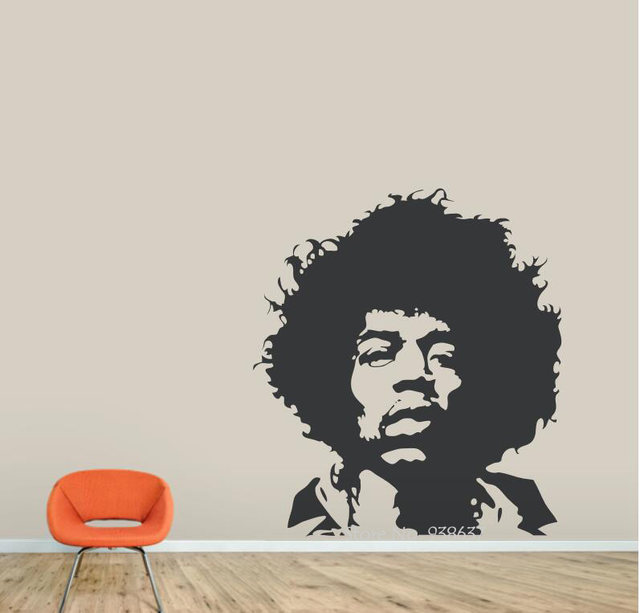 Online Shop Jimi Hendrix Wall Decals Rock Guitarist Vinyl Wall ...