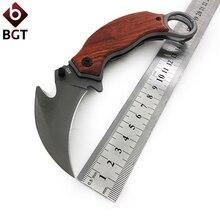 BGT CS GO Karambit Hunting Folding Knife 5Cr13Mov Blade Wood Handle Tactical Camping Combat Pocket Knives Survival Multi Tools