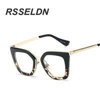 RSSELDN 2017 Gafas Cat Eye Women Eyeglasses Clear Lens Spectacle Frame Fashion Female Sun Glasses Optical