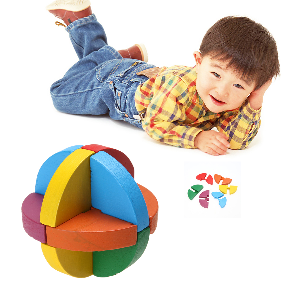 Colorful Kongming Luban Lock Kids Adult Multicolor Wooden Puzzle Ball Brain Teaser Toy Children Intellectual