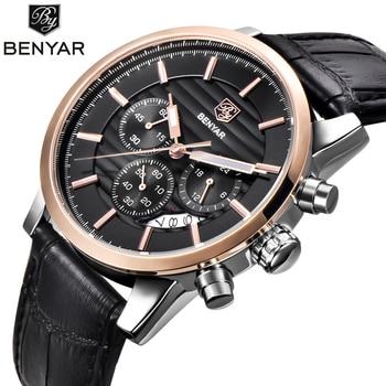 Reloj Hombre BENYAR модные хронограф спортивные мужские часы лучший бренд класса люкс Бизнес Кварцевые часы Relogio Masculino