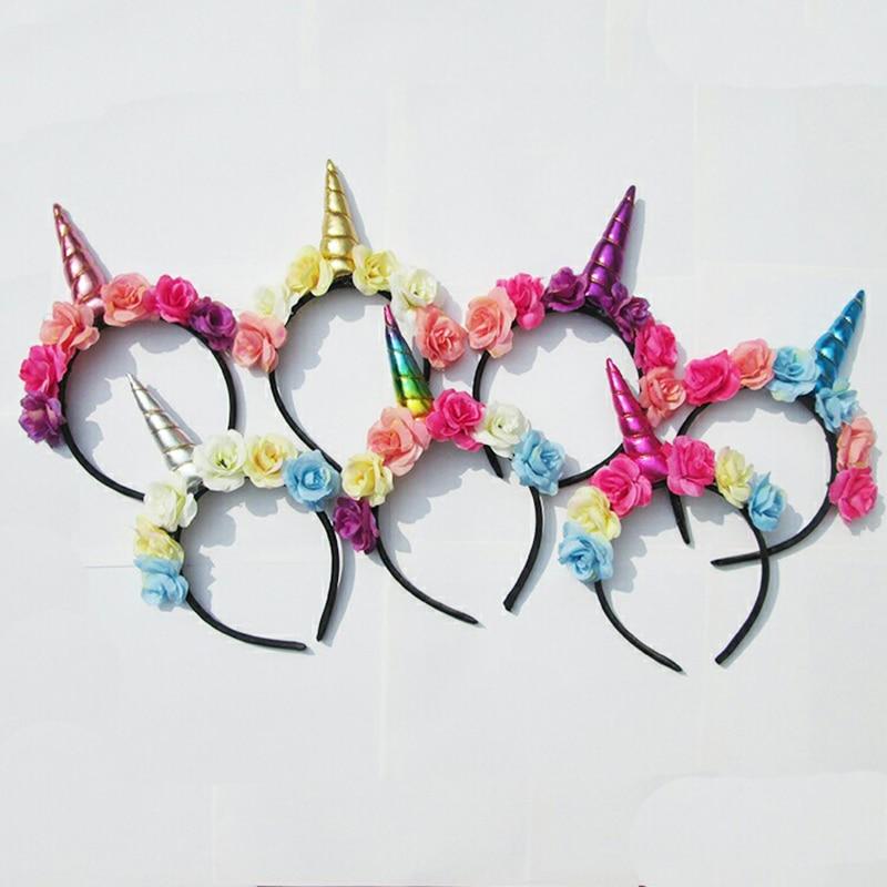 Unicorn Horns Headband with rainbow Flowers for Girls /Kids glitter Unicorn Headband Hair Accessories Party christmas gift