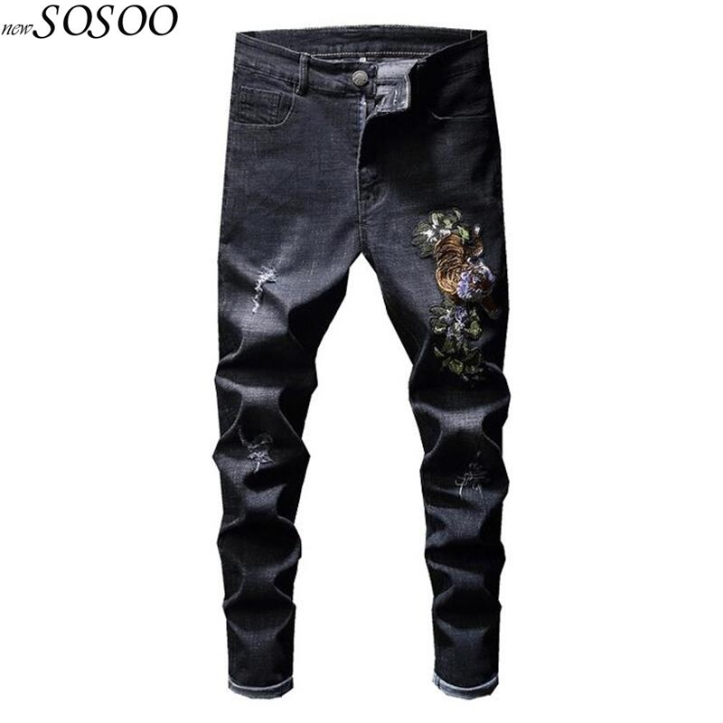 2018 brand black ripped jeans for men skinny slim fit Pencil jeans men pants embroidery men pants jeans #827