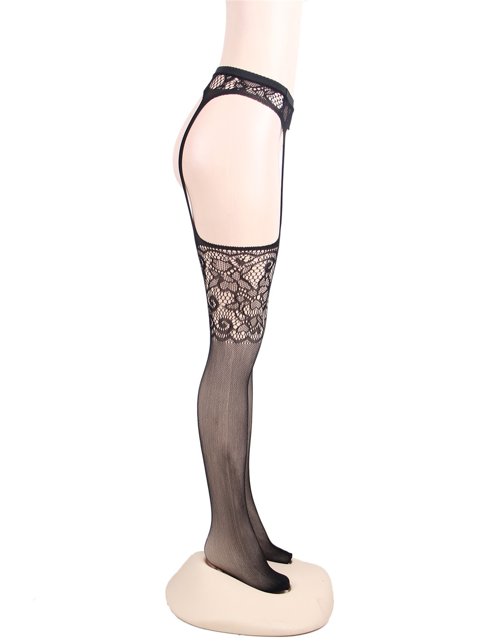New Ladies Lace Stockings Thin High Slim Solid Hook Flower Garters Hosiery Stockings 2018 Sexy Black