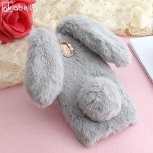 AKABEILA Fluffy Rabbit Fur Silicon Phone Cases For Samsung Galaxy J7 2017 J730 J7 PRO EU Eurasian Version Cover Girl Soft Back