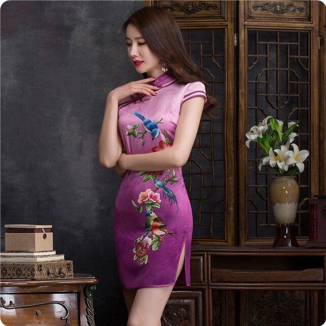 891a026a73 Vintage Traditional Chinese Women Cheongsam Satin Slim Elegant Ladies  Embroidery Qipao Slim Mini Abendkleider Evening Cheongsam