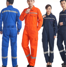 2018 Autumn Unisex Engineering Worker Clothing Wear Auto Repair Factory Workshop Uniform long Sleeve Siamese Work Clothing(China)