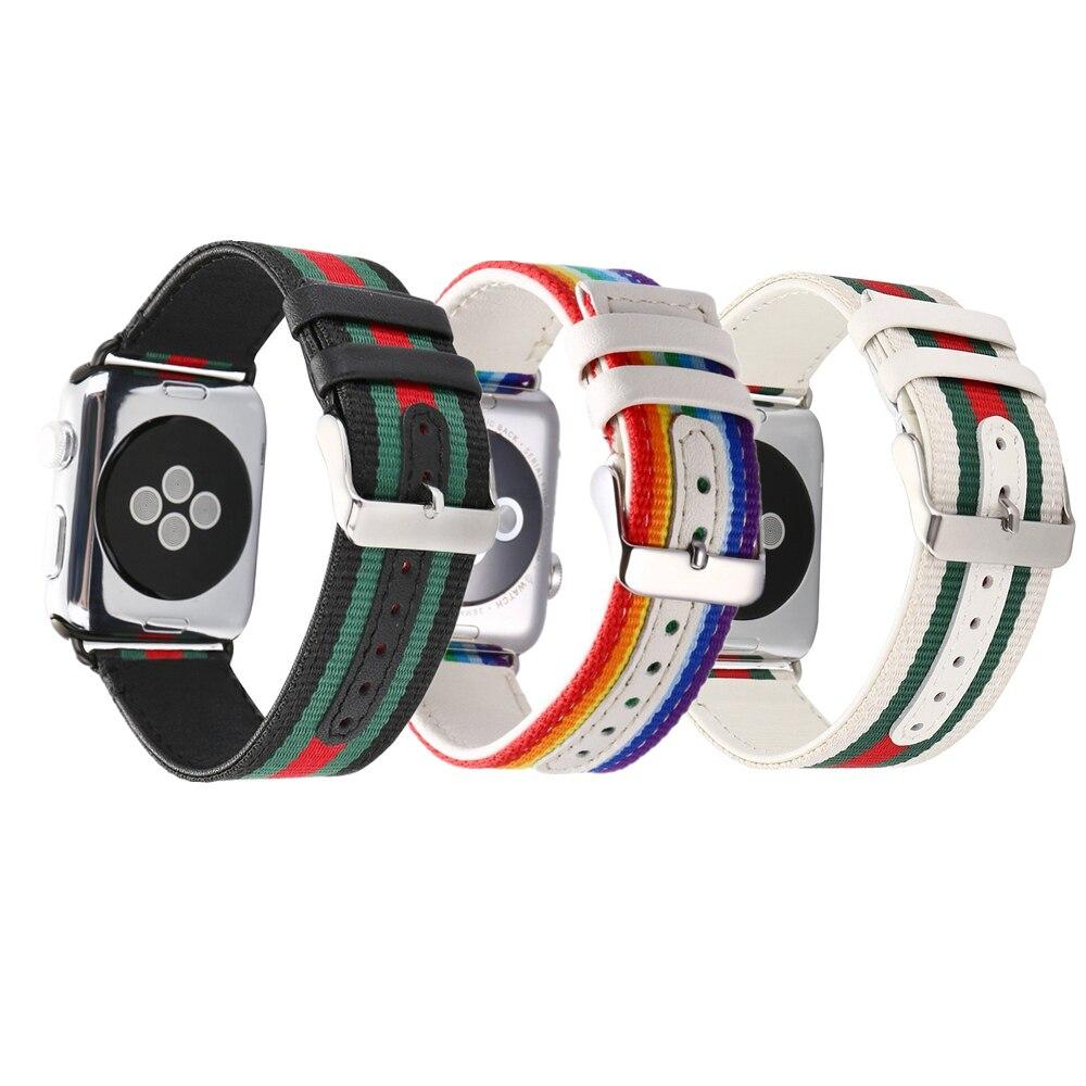 Nylon + Leder strap für Apple Uhr band 42mm/38mm iWatch Serie 3 2 1 band Gestreiften handgelenk armband armband mit metall schnalle