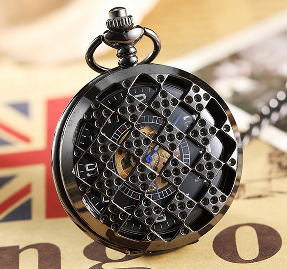 Unique Regular Hollow Case Mechanical Pocket Watch With Chain Vintage Black Fob Clock Steampunk Pendant For Men Women Gift