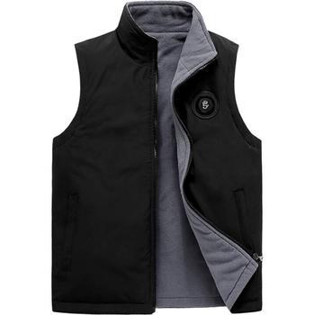 Men Vest Jacket Winter Plus Velvet Vest Male Loose Warm Fashion Casual Zipper Thickening Black Size M L Xl 2Xl 3X