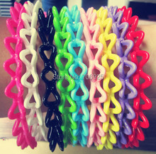 24pcs/lot Free shipping Wholesale Mixed color bending plastic hair bands  11mm