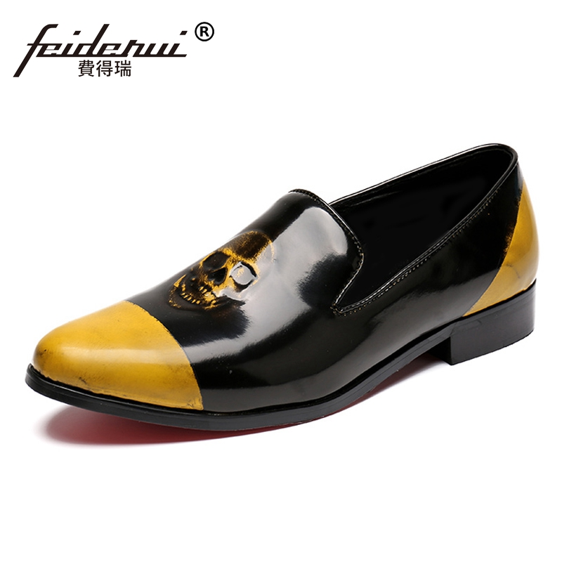 Здесь продается  Plus Size Round Toe Slip on Man Comfortable Moccasin Loafers Patent Leather Height Increasing Skull Men